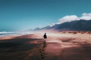 ビーチを歩く人