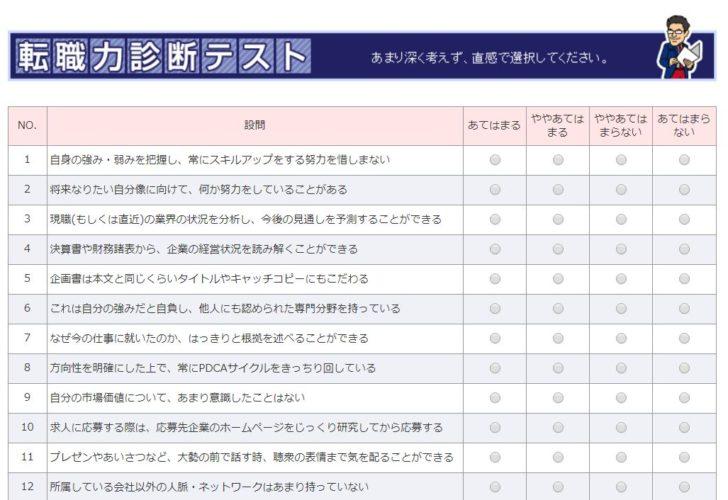 転職力診断/質問項目の画面